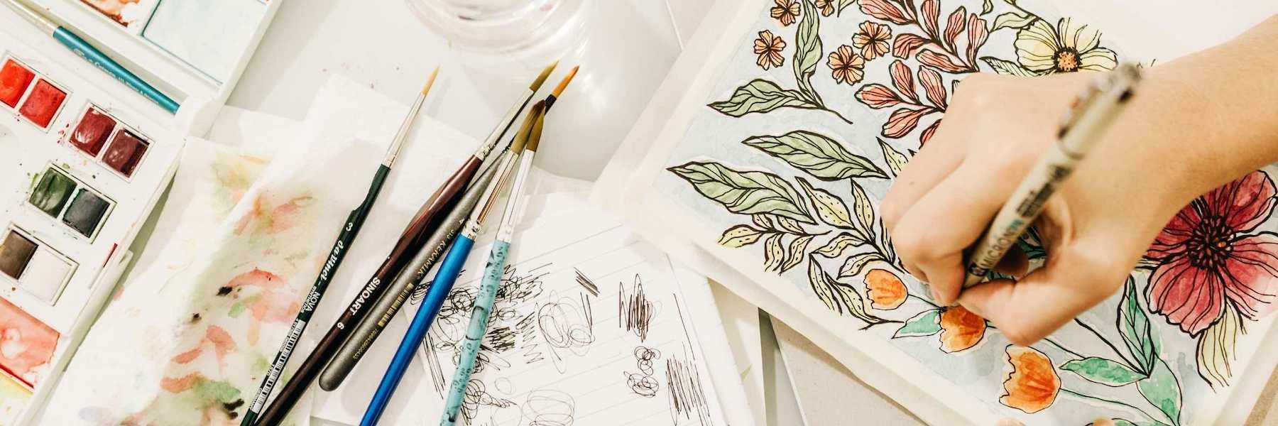 Female artist illustrator at work